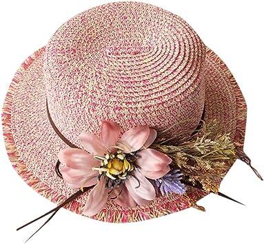 MINXINWY Sombrero Paja Mujer, Sombrero Plana Gorros de Paja de ...
