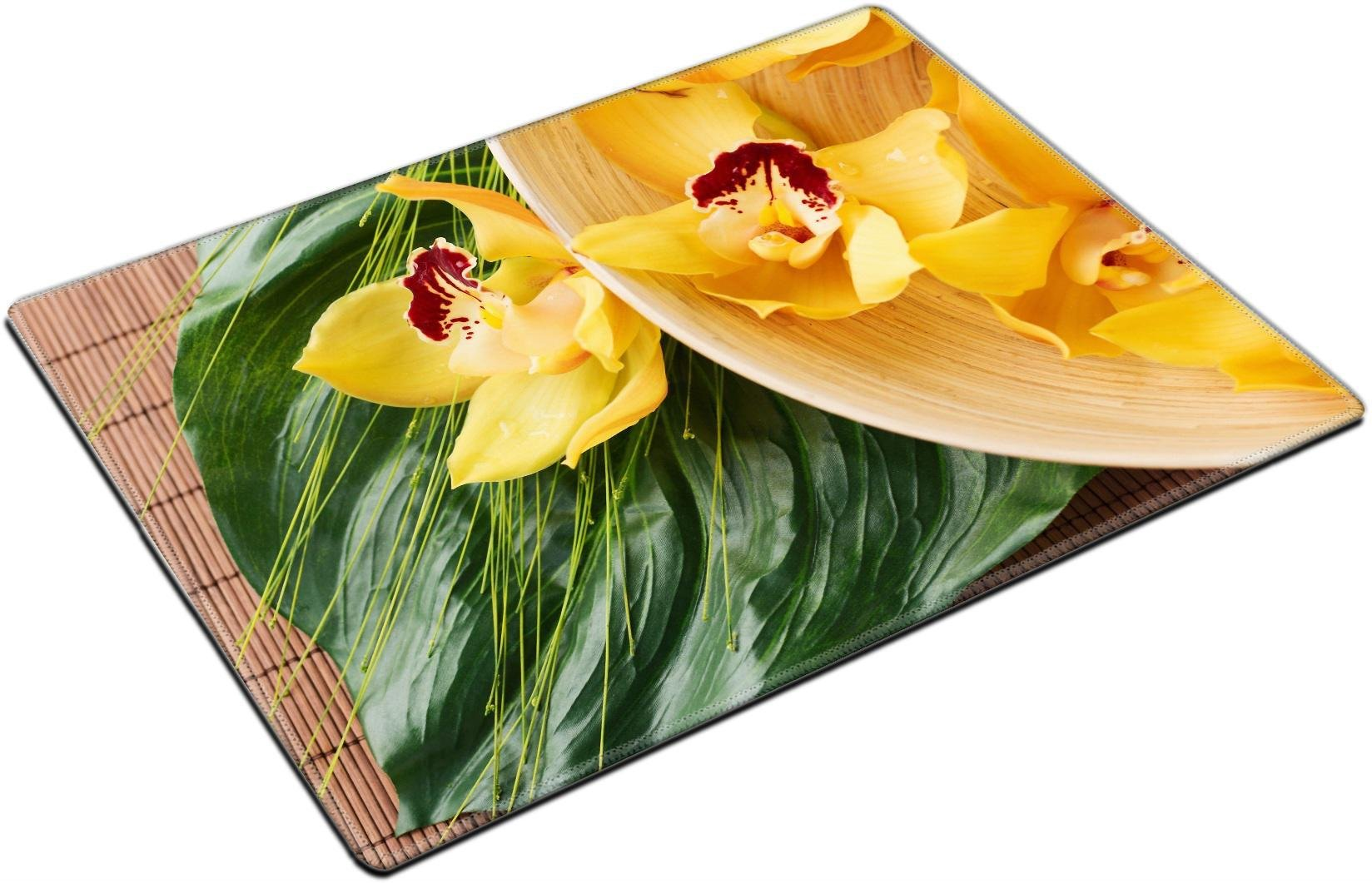 MSD Place Mat Non-Slip Natural Rubber Desk Pads design 25698161 spa heath and beauty concept orchid flowers in bowl with green leaf on mat