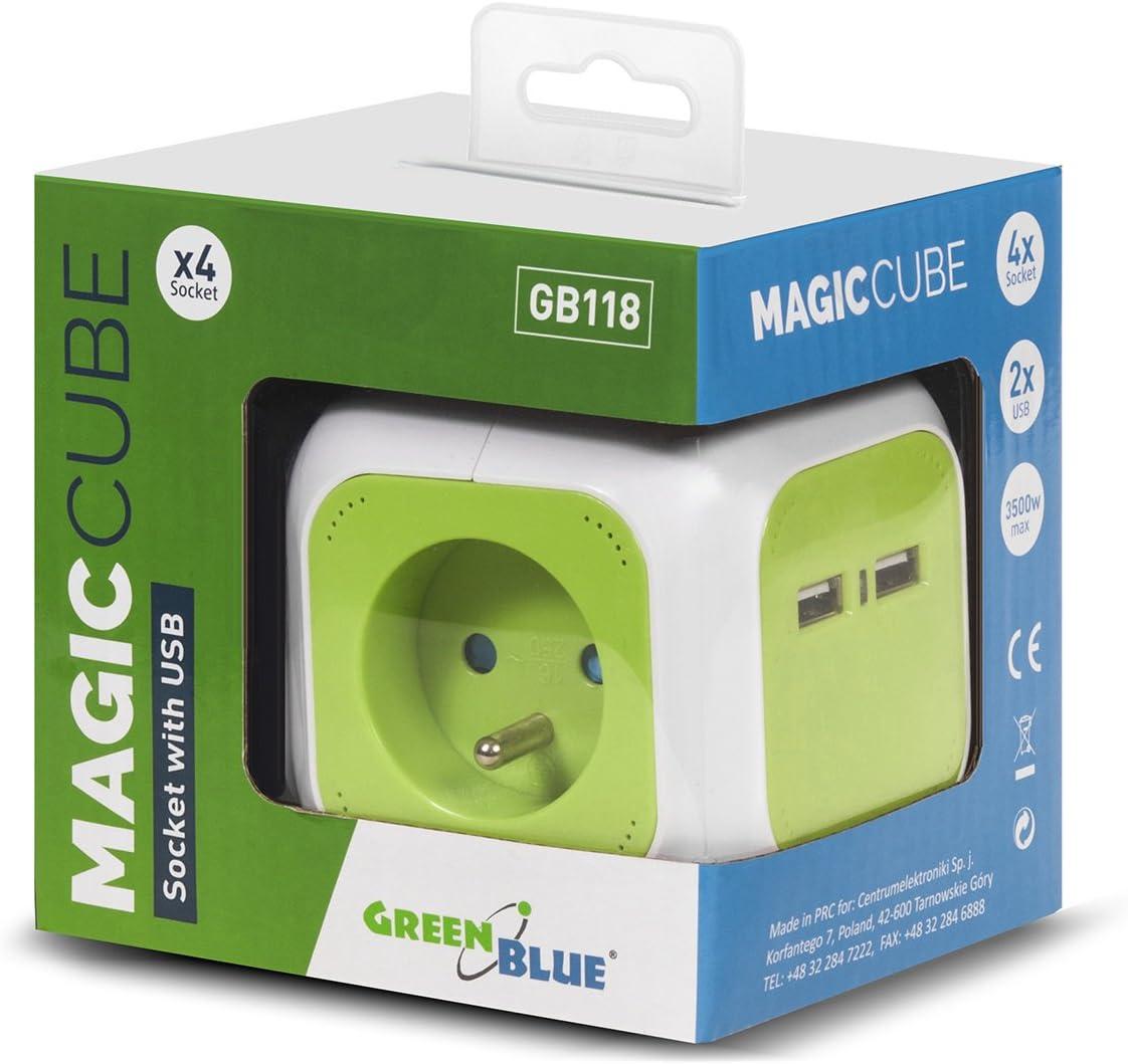 enchufes con puesta a tierra tipo E franc/és Green Blue Ladr/ón MagicCube con 4 enchufes y 2 puertos USB