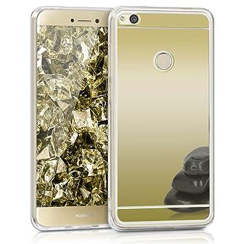 kwmobile Funda para Huawei P8 Lite (2017) - Carcasa Protectora [Trasera] de [TPU] para móvil en [Dorado con Efecto Espejo]