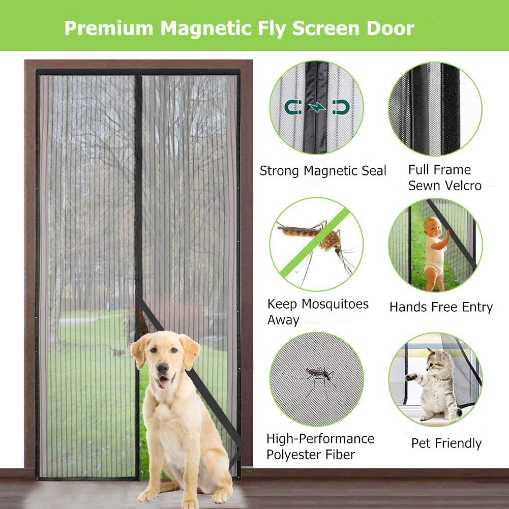Fly Screens for Doors No Gap Powerful Magnet Sagekia Magnetic Heavy Duty Mesh Curtain Snap Shut Automatically Mosquito Screen Net Fits Door Size up to 90 x 210 cm Easy Installation