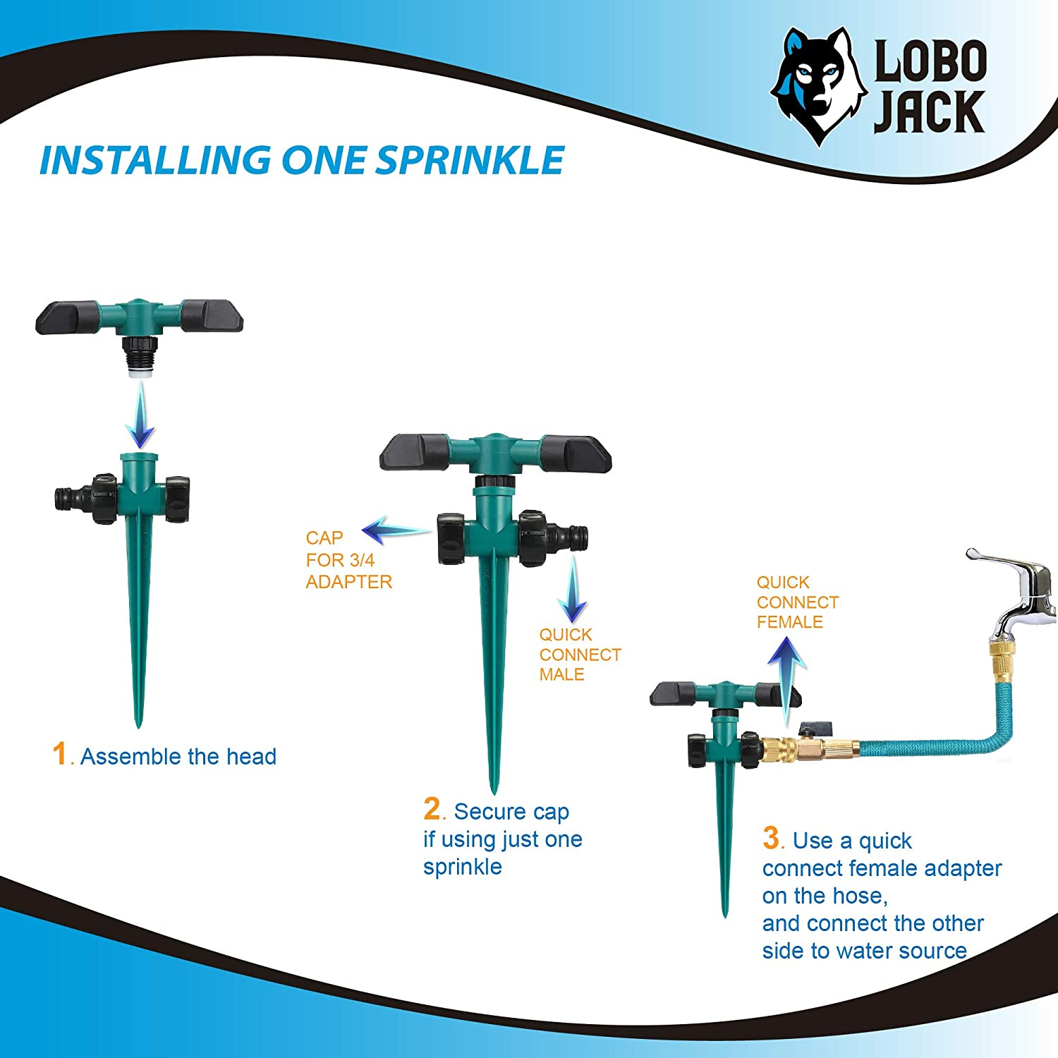 LoboJack 3 Arms Sprinkler for Lawn Garden Watering, 360 Degree Automatically Rotating, Up to 32 ft. of Irrigation : Garden & Outdoor