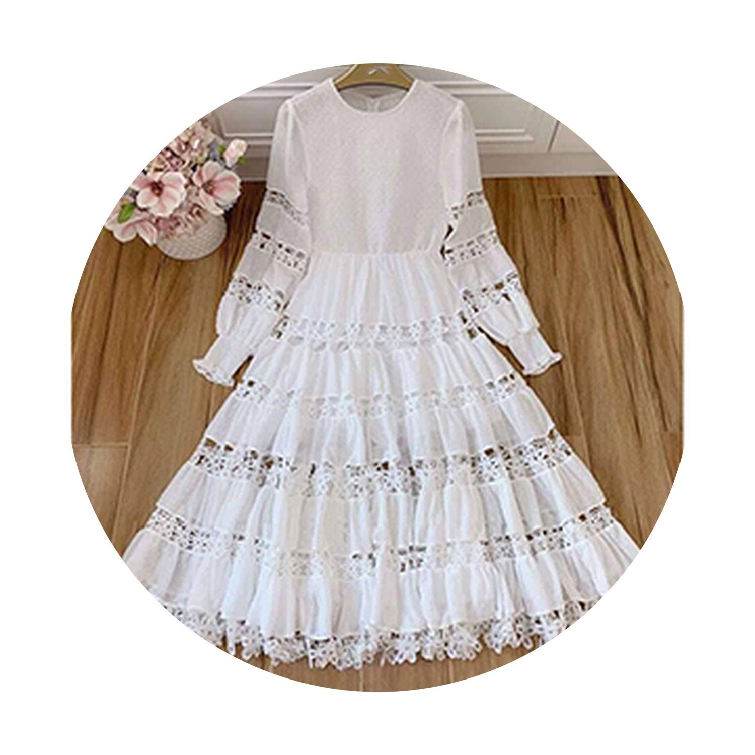 White Pinkstar Vacation Hollow Out Party Cotton Dresses ONeck Floral Lantern Sleeve Simplee Dress