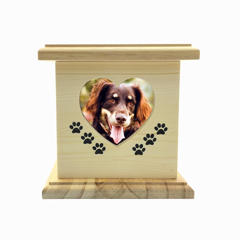 LZH Fatto a Mano in Legno in Legno Pet Cane Gatto Urne in Foto Pet Memorial Urna in urna per Cenere Piccola Scatola Size Dimensioni Interne: 5.4* 4.9 * 6.9