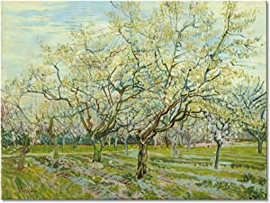 Wieco Art The White Orchard by Van Gogh Famous Oil Paintings Reproduction Canvas Prints Wall Art Green Tree Picture for Bedroom Home Decorations Modern Stretched and Framed Landscapes Giclee Artwork
