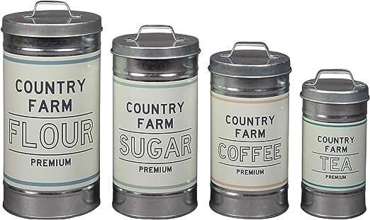 Tarros de Metal Blanco Y Cobre Estaño Botes Cocina Ollas Utensilios de almacenamiento de alimentos