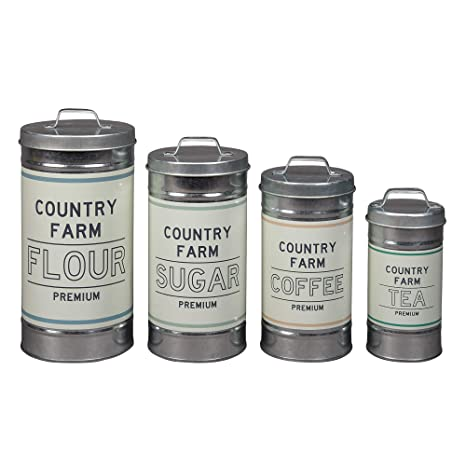 Barnyard Designs Decorative Nesting Kitchen Canisters with Lids Galvanized  Metal Rustic Vintage Farmhouse Country Decor for Flour Sugar Coffee Tea ...