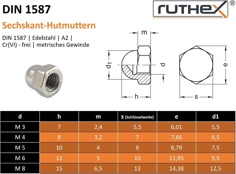 50x ruthex Tuercas de tapa M5 DIN 1587 Sin cromo VI Acero inoxidable V2A