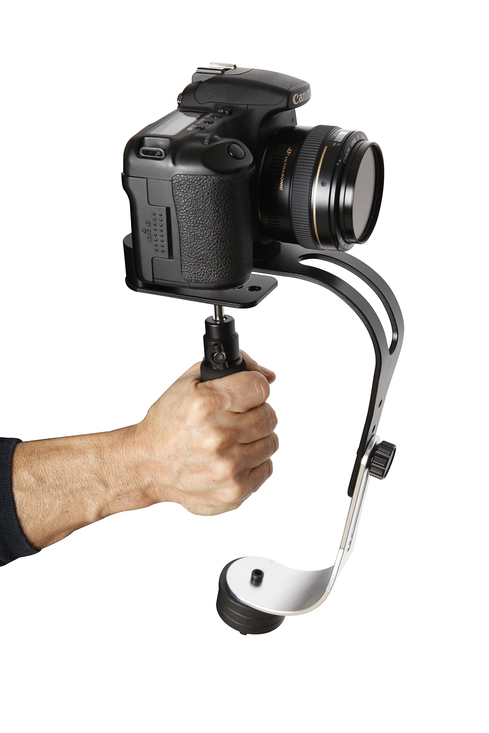 The Official Roxant Pro Video Camera Stabilizer Limited Edition (Midnight Black) with Low Profile Handle for GoPro, Smartphone, Canon, Nikon - or Any Camera up to 2.1 lbs. - Comes with Phone Clamp. by Roxant