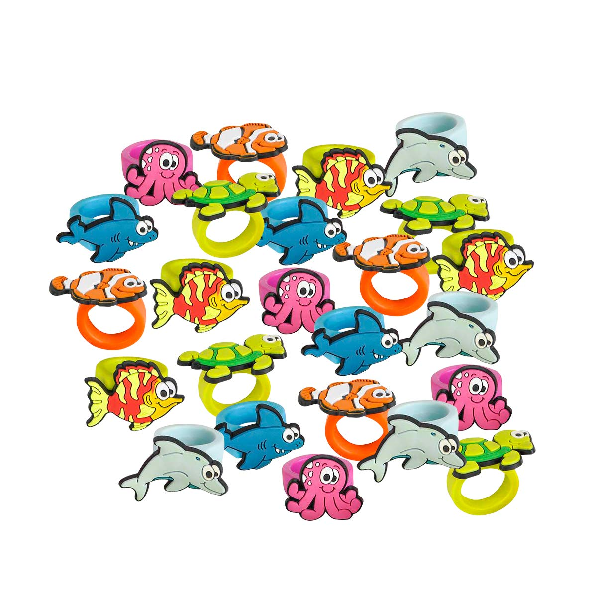 Kicko Sea Life Rubber Rings - Pack of 24 1 Inch Party Favor Rings for Children Fashion Accessory, Pretend Play, Cake Toppers, and Marine themed Party Supplies by Kicko