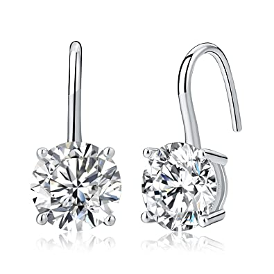 46bf4f7aa Diamond Treats 925 STERLING SILVER Earrings with 8mm Single Round Hanging  FLAWLESS White Cubic Zirconia.