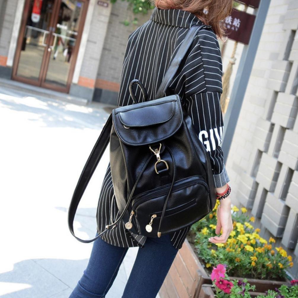 DDLBiz Vintage Women's Backpack Travel Leather Handbag Rucksack Shoulder School Bag (Black)