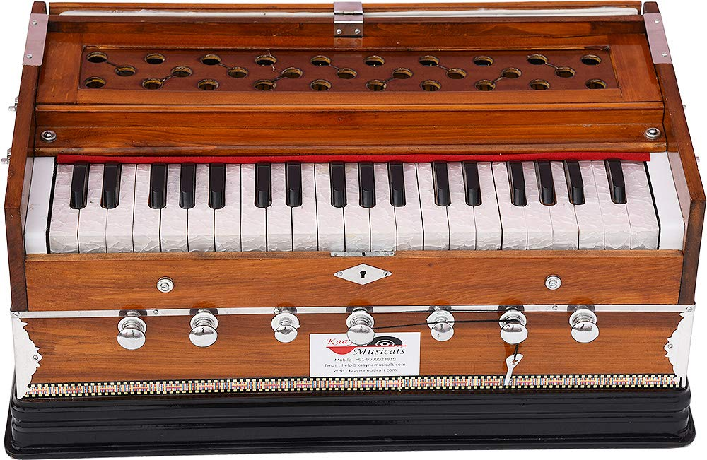Harmonium Eco Model By Kaayna Musicals, Brown Colour, 7 Stops- 2 Drone, 3¼ Octaves, Gig Bag, Bass/Male Reed Tuned- 440 Hz, Best for Peace, Yoga, Bhajan, Kirtan, Shruti, Mantra, etc by Kaayna Musicals (Image #8)
