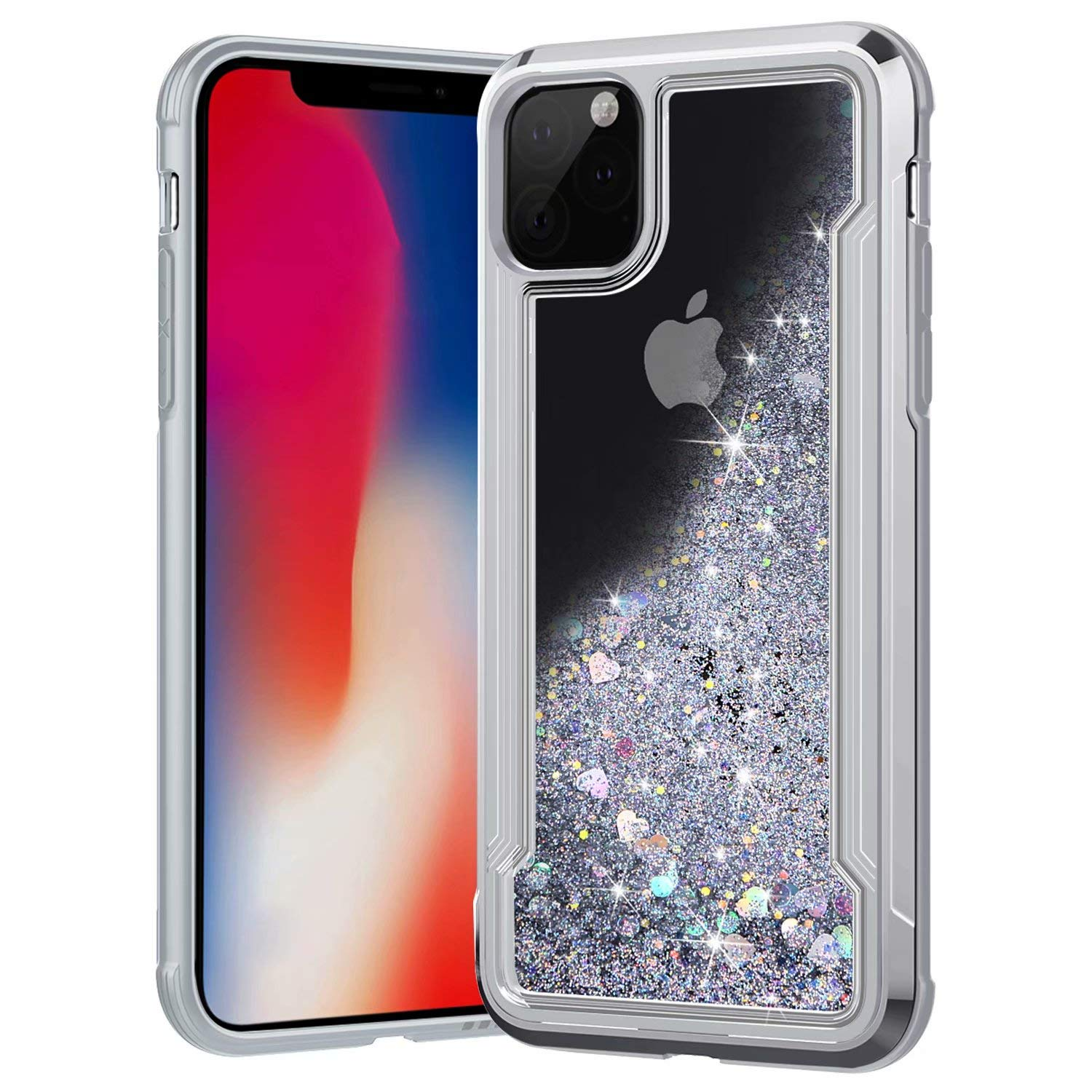 iPhone 11 Case, Ranyi Slim Protective Liquid Glitter Case Flowing Liquid Floating Glitter Sparkle Quicksand Resilient Rubber Electroplated Bumper Case for Apple 2019 6.1 Inch iPhone 11 (Silver) by Ranyi