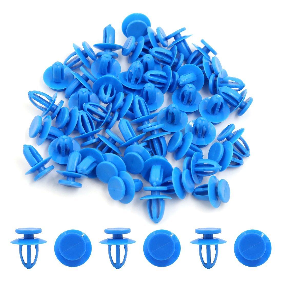 Amazon.com: eDealMax Empuje 50Pcs remaches de plástico Azul pegatina de Fender en la puerta de retención DE 9 mm Clip Para el coche: Automotive