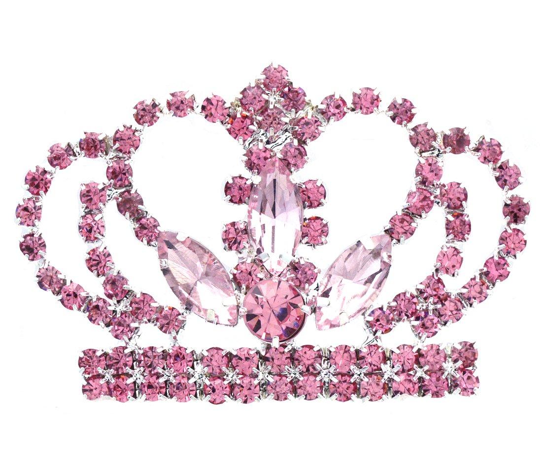 SoulBreezeCollection Princess Crown Tiara Brooch Pin Wedding Bridesmaid Rhinestones Jewelry (Pink)