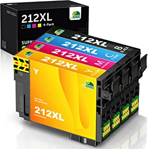 JARBO Remanufactured Ink Cartridge Replacement for Epson 212 212XL T212XL T212 High Yield to Use with XP-4100 XP-4105 WF-2830 WF-2850 Printer (1 Black, 1 Cyan, 1 Magenta, 1 Yellow, 4-Pack)