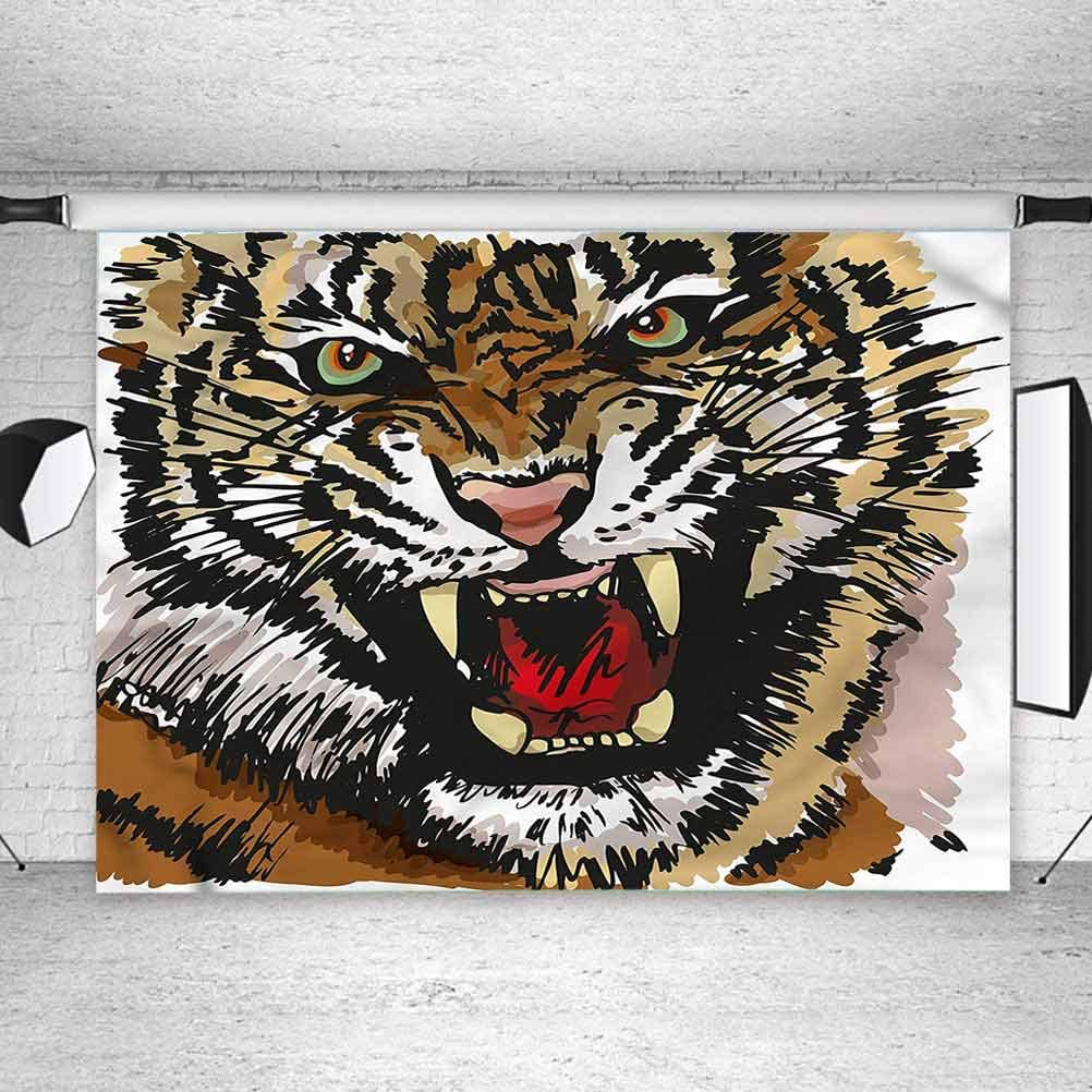 8x8FT Vinyl Wall Photography Backdrop,Tiger,Angry Eyes Sketch Art Background for Baby Birthday Party Wedding Graduation Home Decoration
