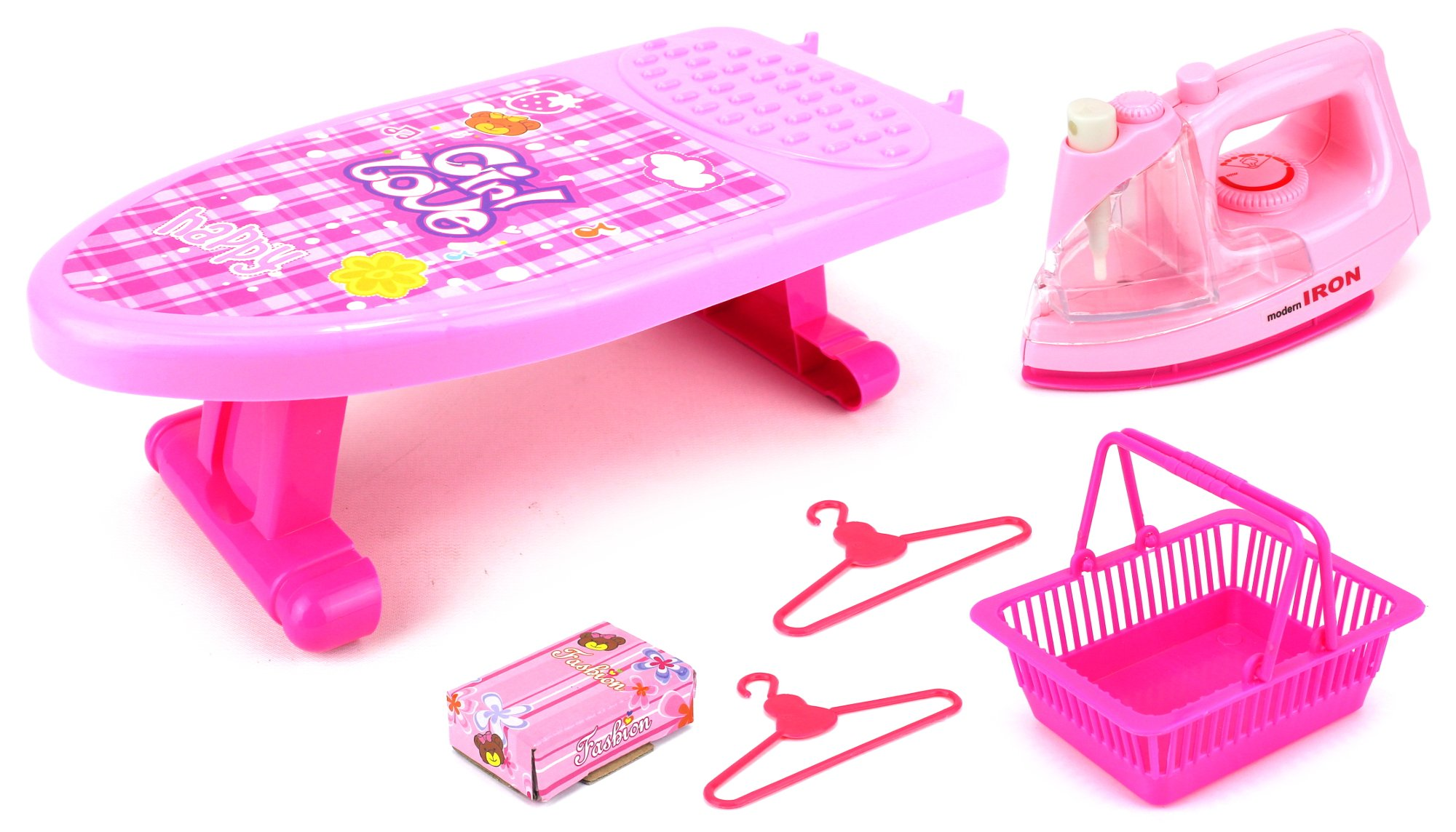 Happy Mini Iron Children Kid's Toy Clothing Iron Board Playset w/ Clothes Iron, Ironing Board, Accessories