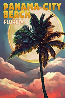 product image for Panama City Beach, Florida, Palm and Moon 52831 (12x18 SIGNED Print Master Art Print, Wall Decor Poster)