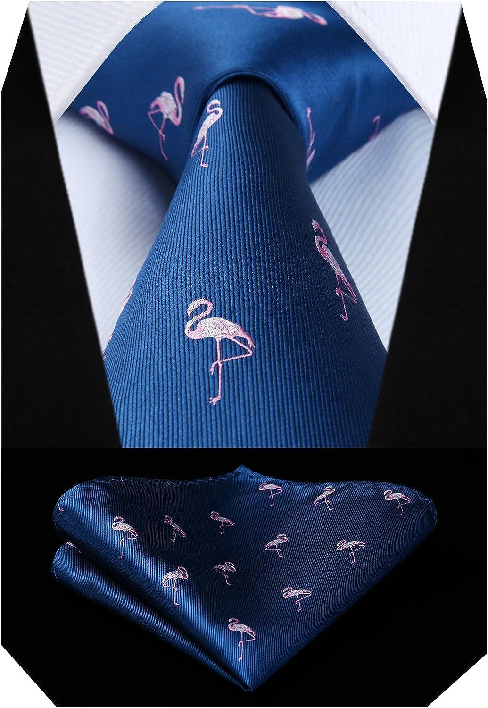 HISDERN Animal Patterns Banquete de boda Corbata Panuelo Conjunto de corbata y bolsillo para hombre