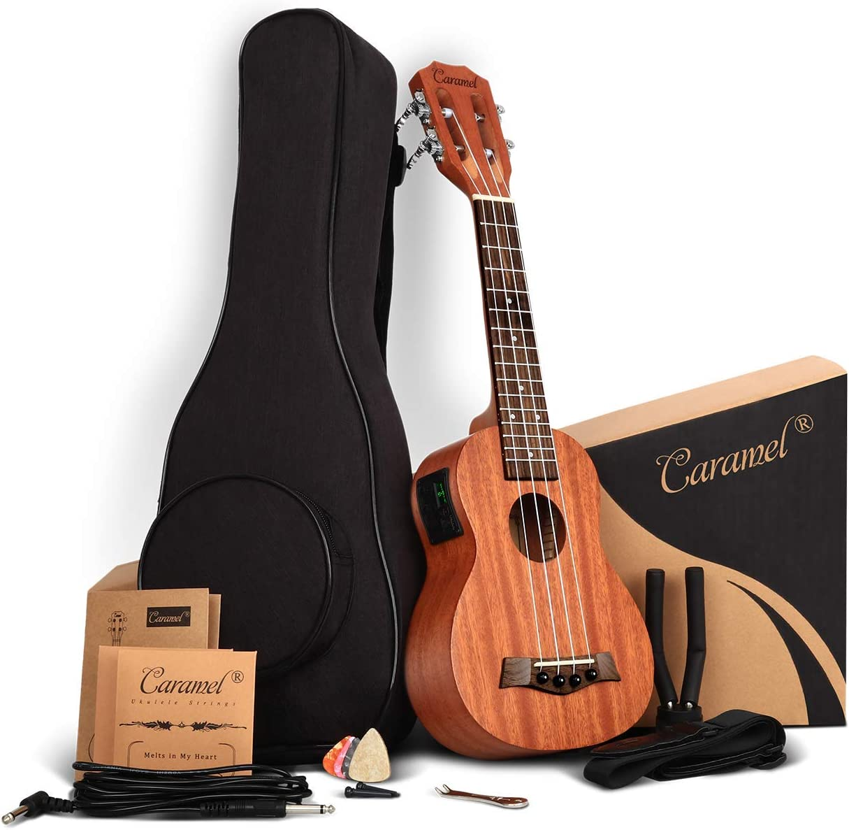 21 inch Solid Mahogany obere and zurück - Caramel CS419 Soprano LCD color display Electric Ukulele ukelele Kit Bundle Aquila Strings, Padded Gig Bag, Strap Hanger Set