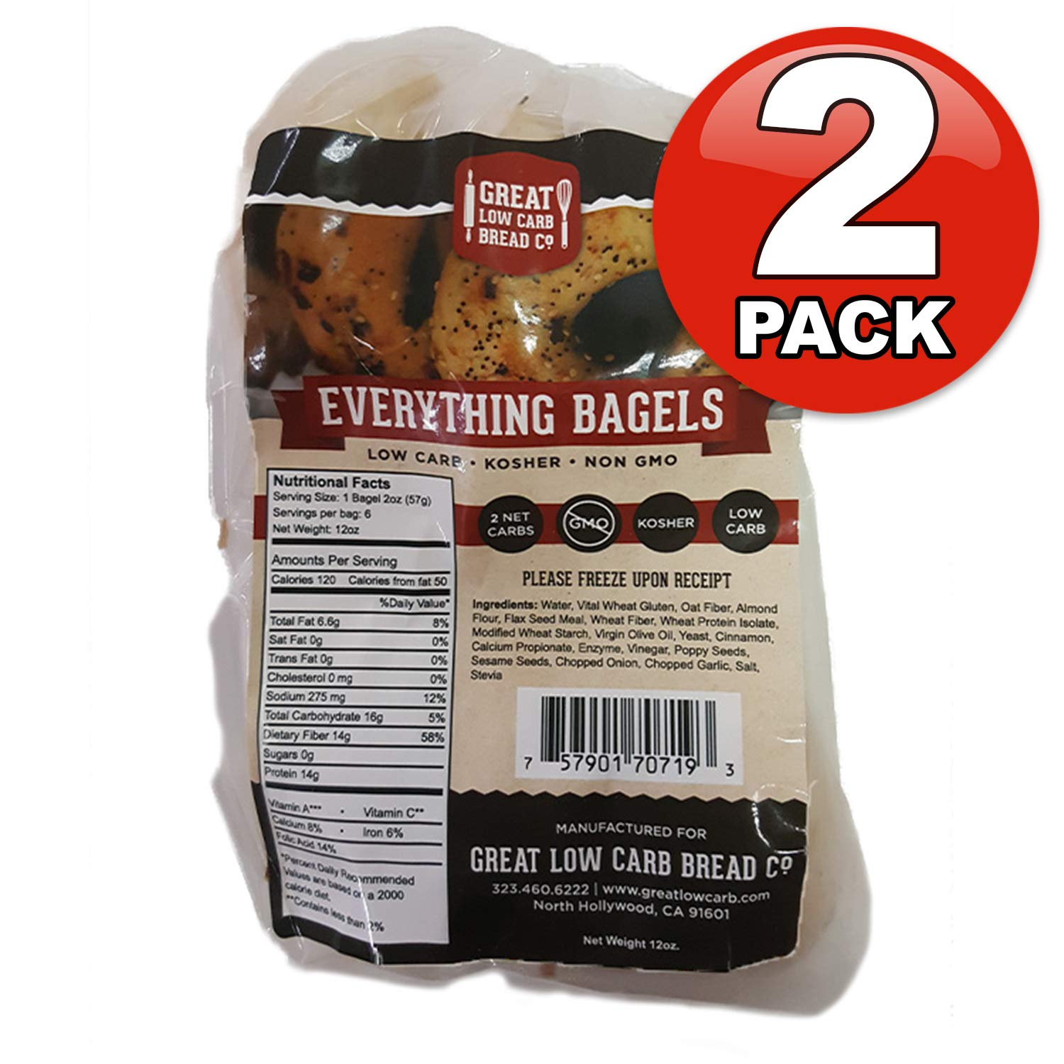 Great Low Carb Everything Bagels 2 Bags by Great Low Carb Bread Company (Image #1)
