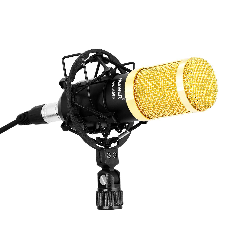 Tap/ón de Espuma Anti-viento Neewer NW-7000 Pro Micr/ófono de Condensador de Radiodifusi/ón para Grabaci/ón Estudio: Micr/ófono de Condensador 3.5mm Cable XLR Micr/ófono Choque Montaje