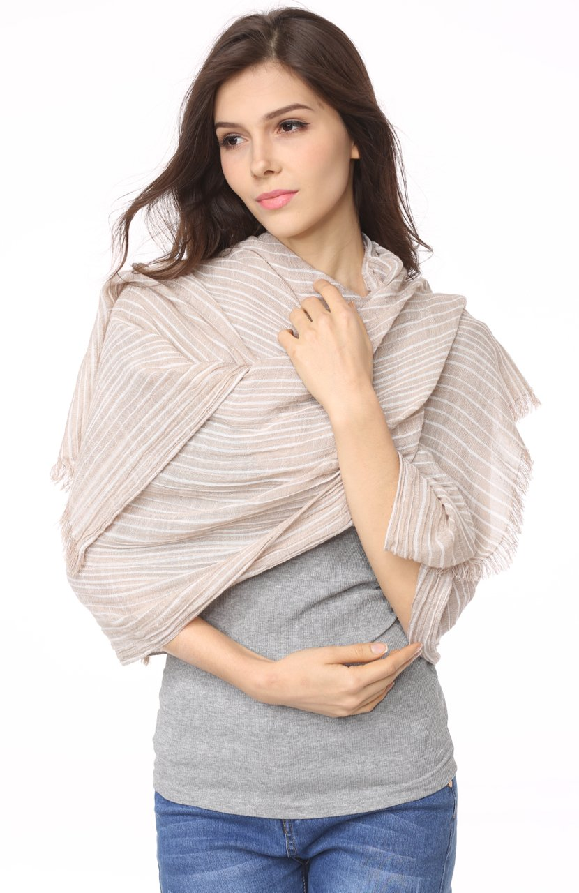 Cotton Scarf Shawl Wrap Soft Lightweight Scarves And Wraps For Men And Women. (Beige cream) by Jeelow (Image #2)
