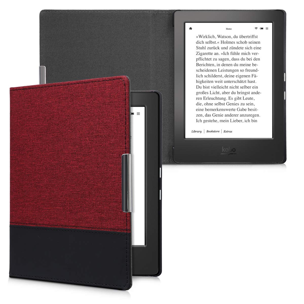 kwmobile Case for Kobo Aura H2O Edition 1 - PU Leather and Canvas Protective e-Reader Cover Folio Case - dark red black