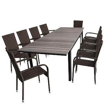Amazon De 11tlg Gartengarnitur Gartentisch Polywood Tischplatte