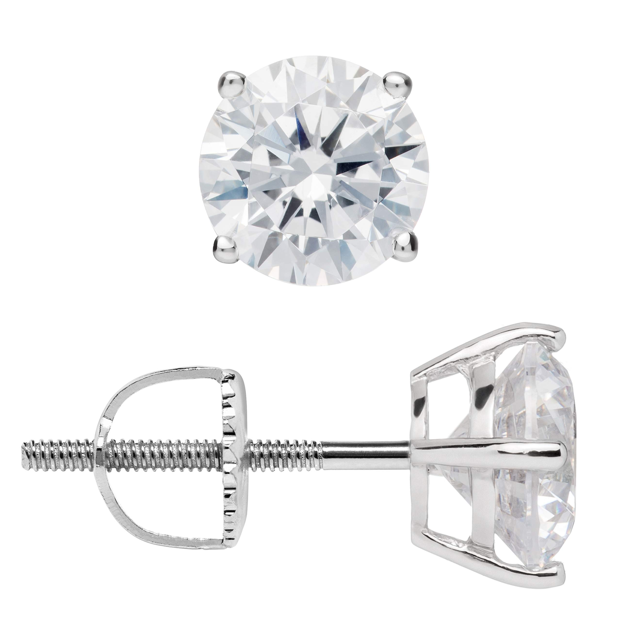 14K Solid White Gold Stud Earrings | Round Cut Cubic Zirconia | Screw Back Posts | 2.0 CTW | With Gift Box by Everyday Elegance Jewelry
