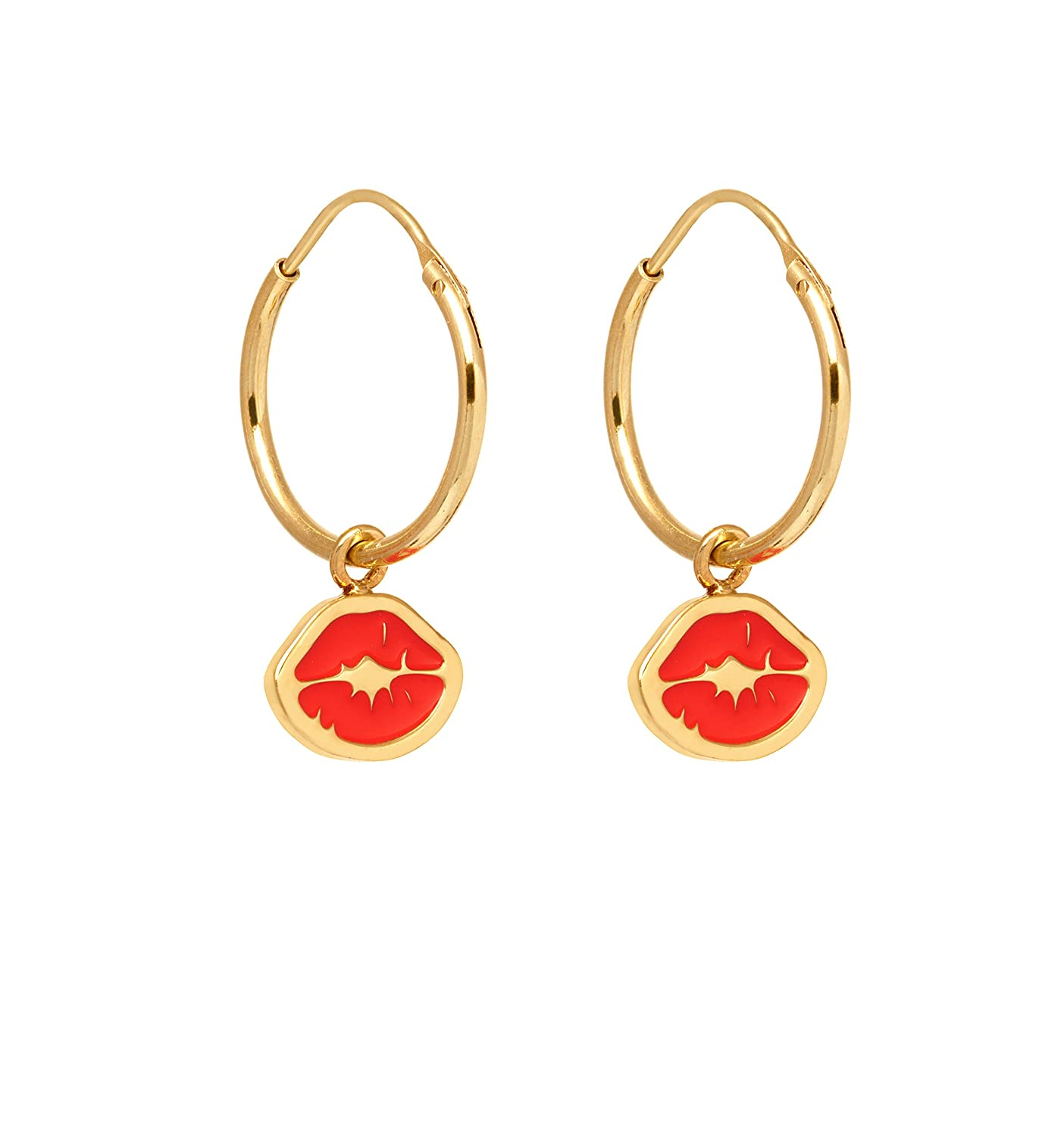 0d89118a11655 Maria Francesca Pepe Gold Plated Brass Red Kiss Stamp Charms Hoop Earrings