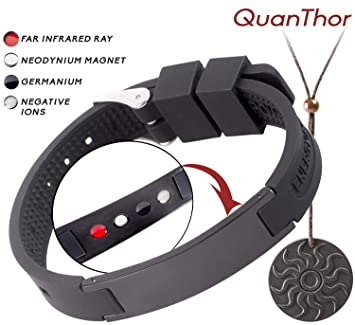 8721be7ab840f QUANTHOR EMF Protection Bracelet (Pendant Bonus) Anti Radiation Bracelet 4  In 1 (Negative Ions, Germanium, Far Infrared And Neodymium Magnet) Joint ...
