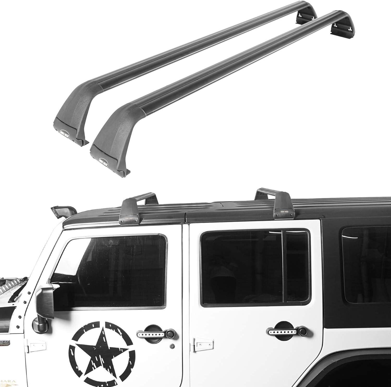 Amazon Com Hooke Road Wrangler Roof Rack 2 Crossbars Hard Top Kayak Cargo Rack Compatible With Jeep Wrangler Jk Jl Unlimited 2 4 Doors 2007 2020 Automotive