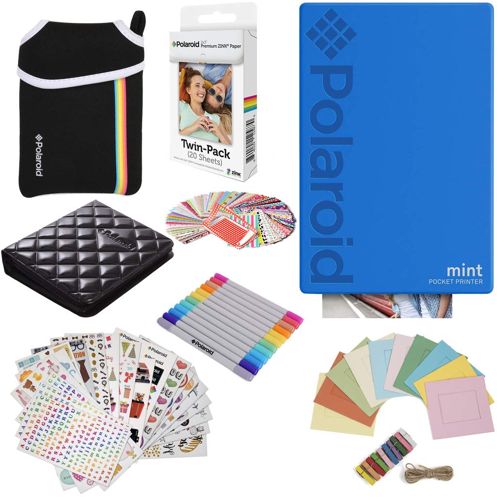Polaroid Mint Pocket Instant Printer (Blue) Gift Bundle + Paper (20 Sheets) + Deluxe Pouch + 9 Fun Sticker Sets + Twin Tip Markers + Photo Album + Hanging Frames + 100 Sticker Frame Set by Polaroid