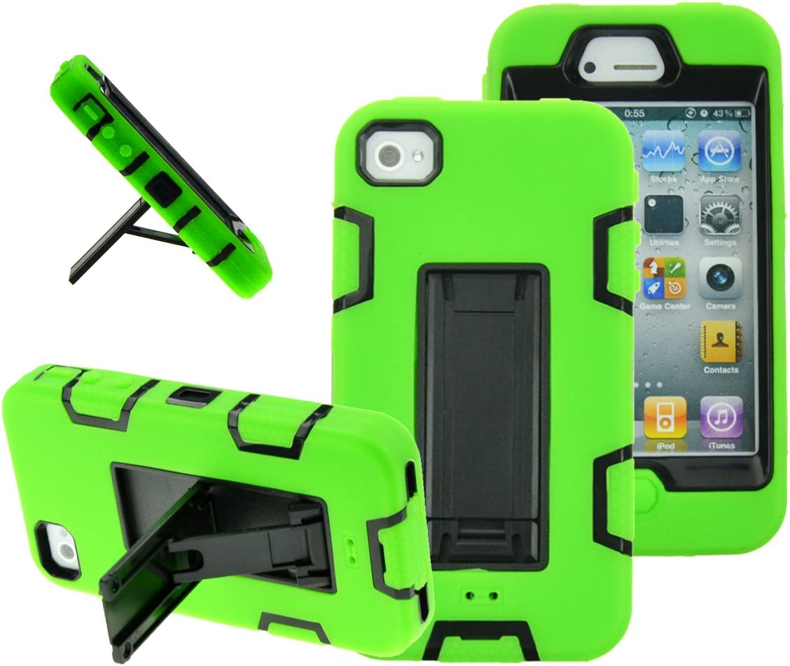 MagicSky iPhone 4s case, iPhone 4 case, Robot Series Hybrid Armor Defender Case Cover with Kickstand for Apple iPhone 4/4S - Green