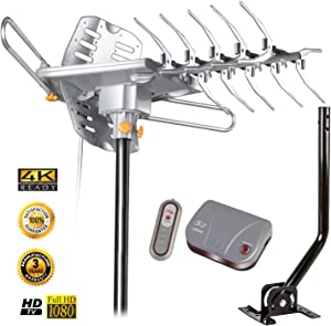 LAVA HD-2605 Ultra Remote Controlled Antenna with J-2012 J-Pole. HD / 4K Digital Antenna with 125 Mile Range