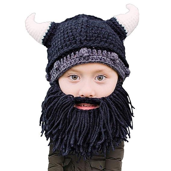 Beard Head Kid Viking Beard Beanie - Horned Hat and Fake Beard for ... 440dec0d482