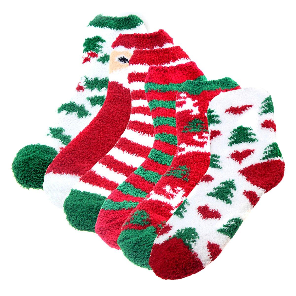 Aivtalk Womens Christmas Holiday Striped Fuzzy Crew Socks 6 Pair Pack
