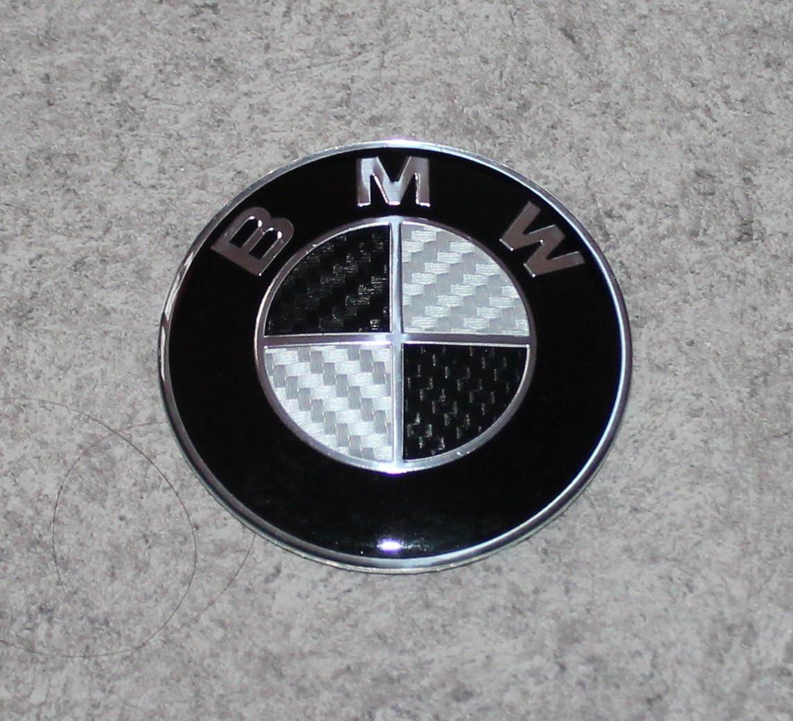 EMBLEMA LOGO INSIGNIA NEGRA BMW DE 82mm FIBRA CARBONO NEGRO ENVIO DESDE ESPAÑA: Amazon.es: Hogar