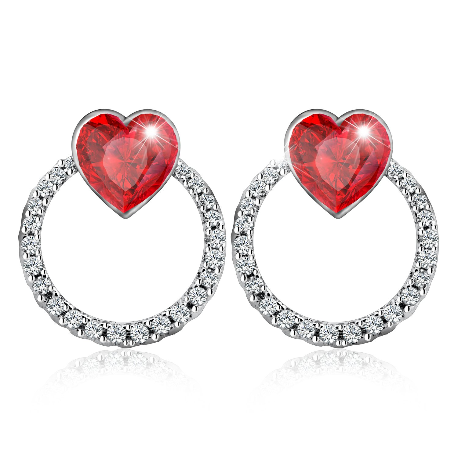 Amazon Crystal Heart Shaped Stud Earrings Made with SWAROVSKI