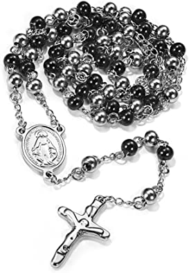 Inri Saint Benedict Medal Cross Pendant Necklaces Black Stone Beads Chains Jesus Necklace Religious Jewelry For Women Men