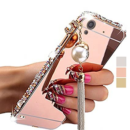 htc desire 530 case. htc desire 530 cases, amasell [pearl tassels sreies] untra slim pc hard mirror htc case