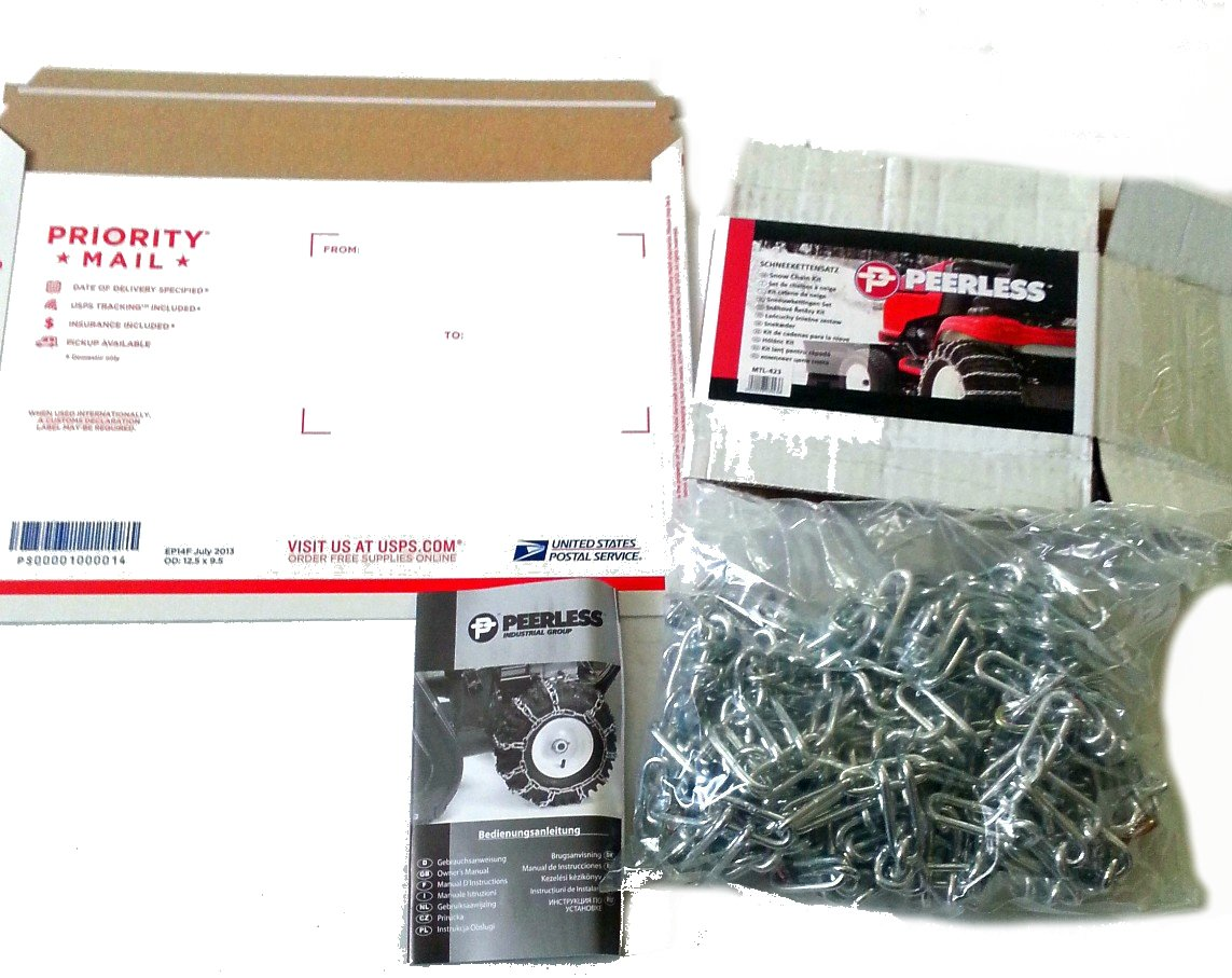 Peerless MTL-417 Garden Tractor 2 link Ladder Style Tire Chains 12x3, 4.50x4, 4.10x5, 3.50x5, 4.10/3.50-5 by MaxTrac (Image #2)