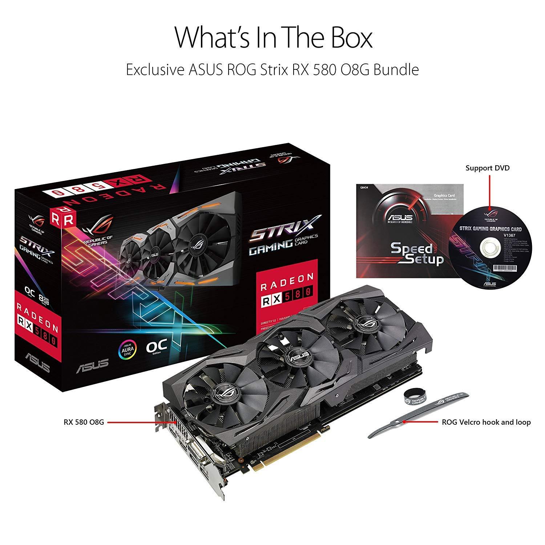 ASUS ROG-STRIX-RX580-O8G-GAMING Radeon RX 580 8 GB GDDR5 Tarjeta gráfica