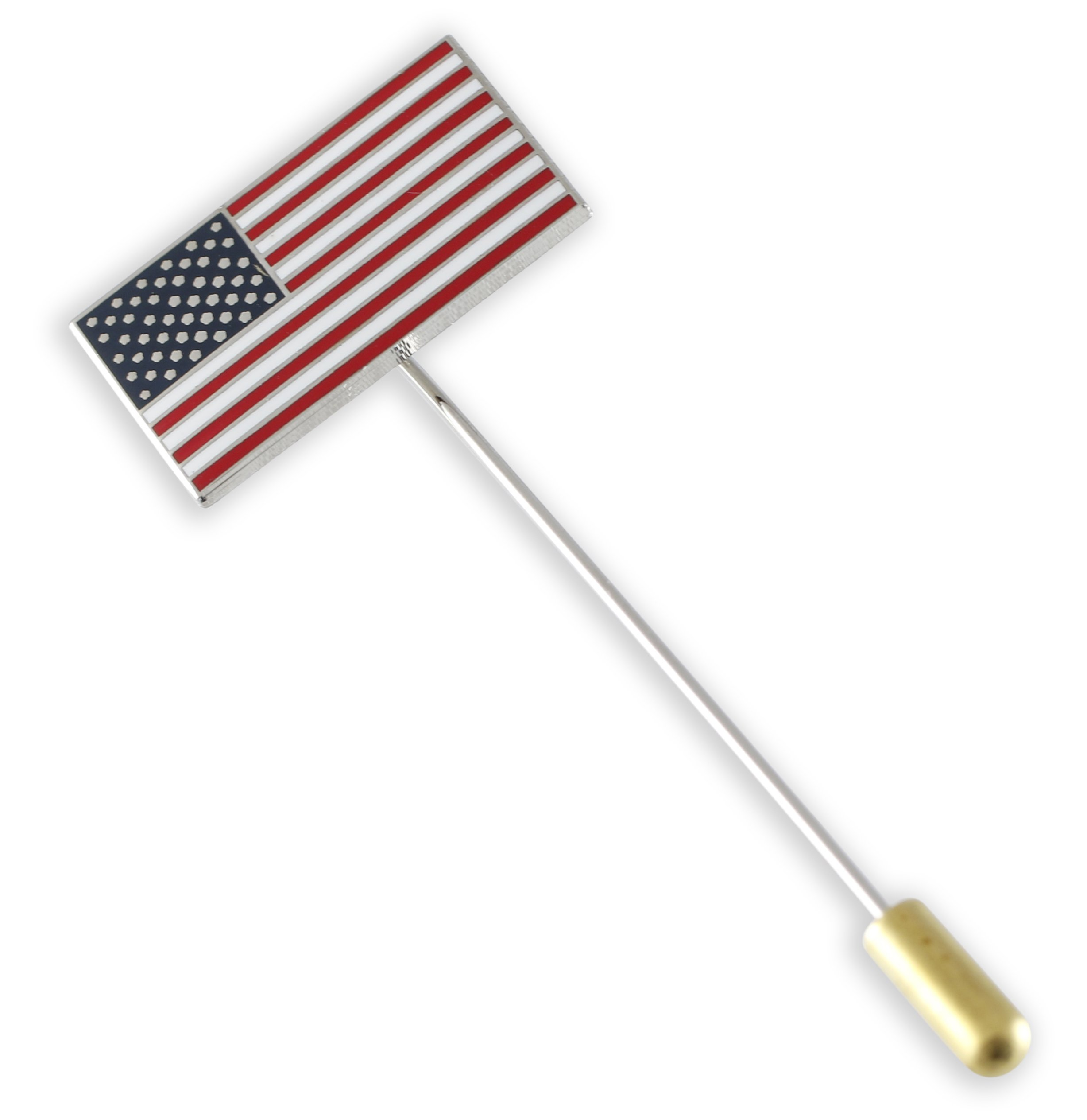 Forge Official American Flag Brooch Stick Lapel Pin (5 Pins- Silver)