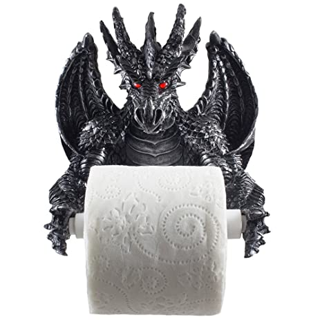 Mythical Winged Dragon Toilet Paper Holder In Metallic Look For Medieval And Gothic Home Decor Bathroom