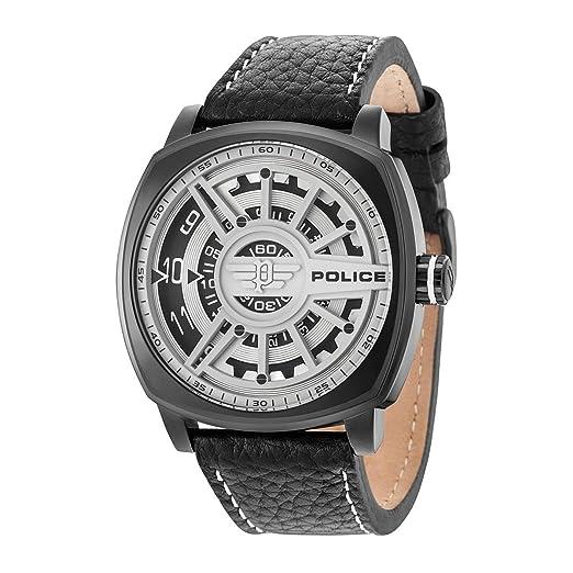 Police Reloj Analógico para Hombre de Cuarzo con Correa en Cuero PL15239JSB.01: Amazon.es: Relojes