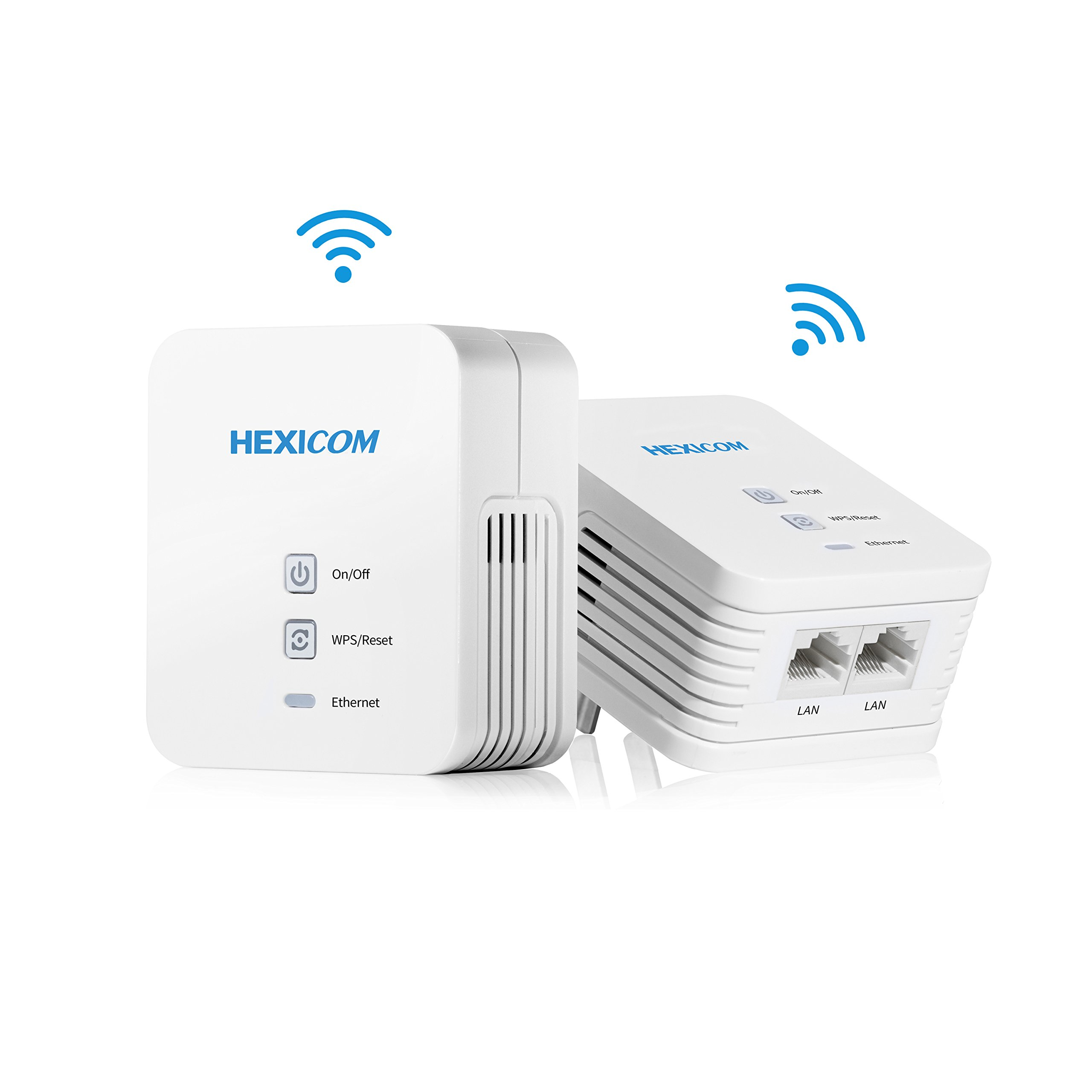 HEXICOM Av 200 Mbps Powerline Ethernet Adapter Wifi Kit Homeplug Bridge PLC 2 LAN Ports(HM200W/HS200W)
